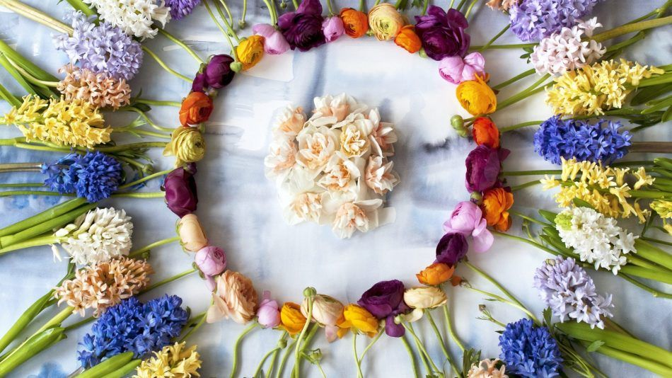 Voorjaarsbloemen, narcis, ranonkel, hyacint