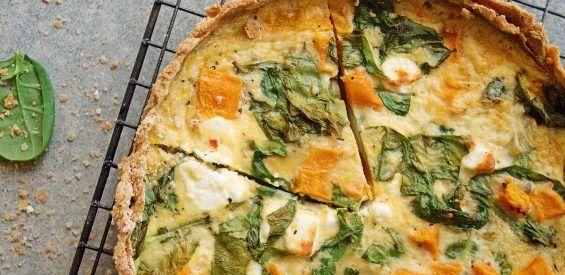 Recept volgens het FODMAP-dieet: boekweitquiche met flespompoen, spinazie en feta