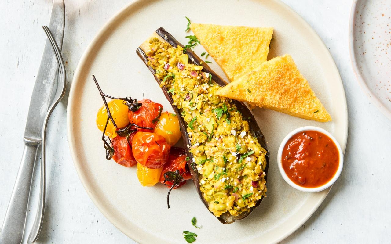 gepofte aubergine, vegan, polenta